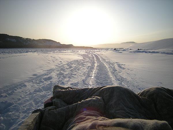 091231北極村アムール川をそりで行く