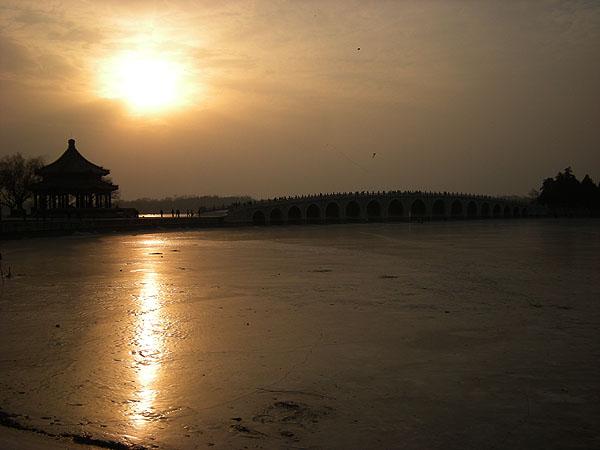 100101頤和園十七孔橋の夕日