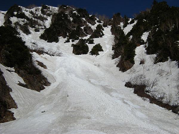100516針ノ木雪渓デブリ