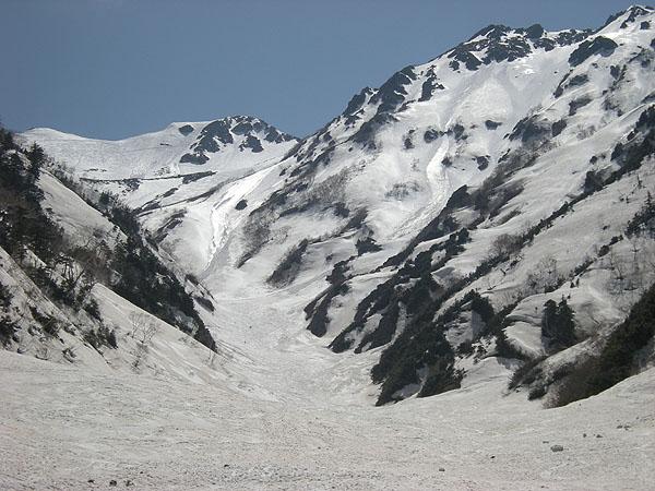 100516針ノ木雪渓を振り返る