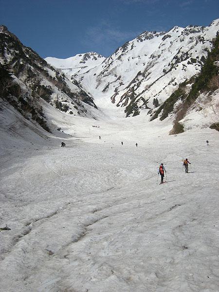 100516針ノ木雪渓シールで登る
