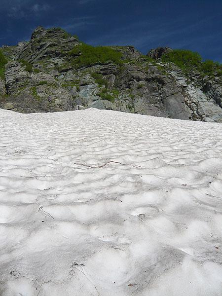 100718バットレス雪渓と5尾根下部