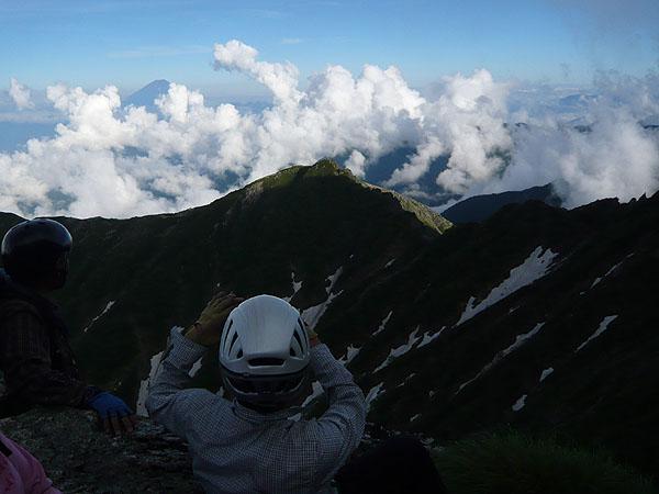 100718バットレス四尾根主稜第二コルから富士山