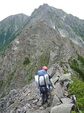 100808奥穂高岳への縦走路に入る