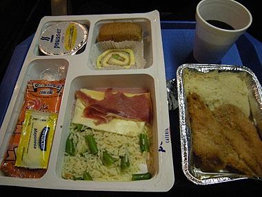 101227リオガジェゴスに向かうバスの夕食