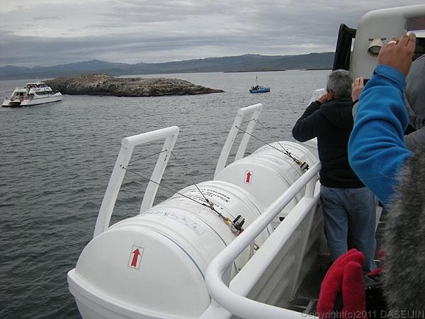 110106フエゴ島・ビーグル水道のオタリアの島、ロス・ロボス島が見えてきた