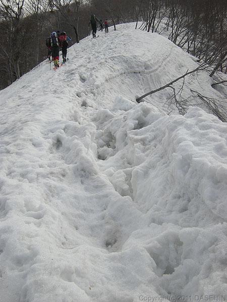 110417守門岳・稜線の雪われ