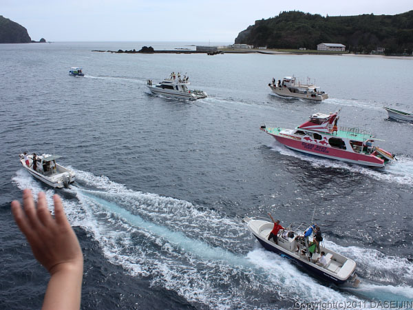 110507小笠原父島・見送りの船