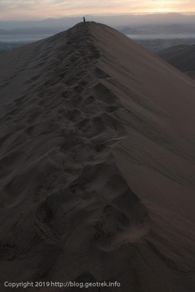 砂丘の稜線に到着