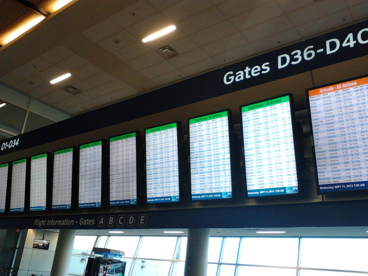 ダラスの出発便のスクリーン