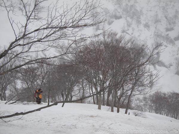 道行山から柳沢への滑降