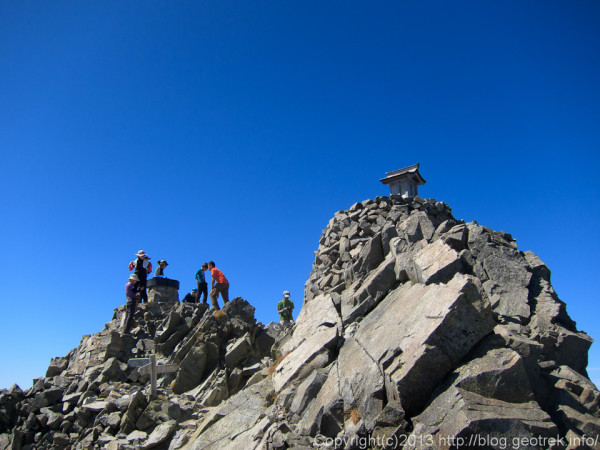 130920槍穂縦走、奥穂高岳山頂