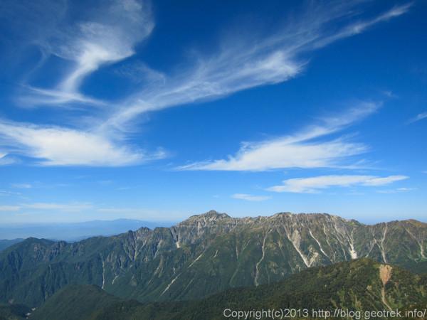 130921槍穂縦走、笠ヶ岳と秋の空