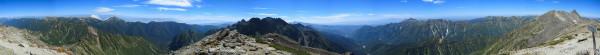 130921槍穂縦走、南岳山頂からのパノラマ