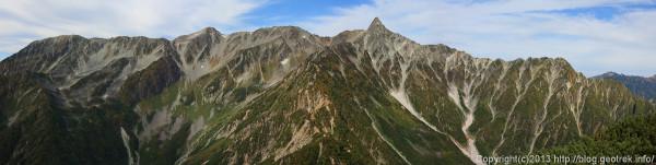 130922槍穂縦走、西岳からの槍ヶ岳、穂高のパノラマ
