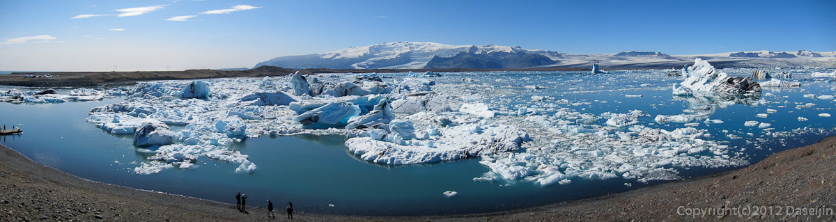 120807アイスランド、グリーンランドの旅・ヨークサゥルロゥン湖パノラマ