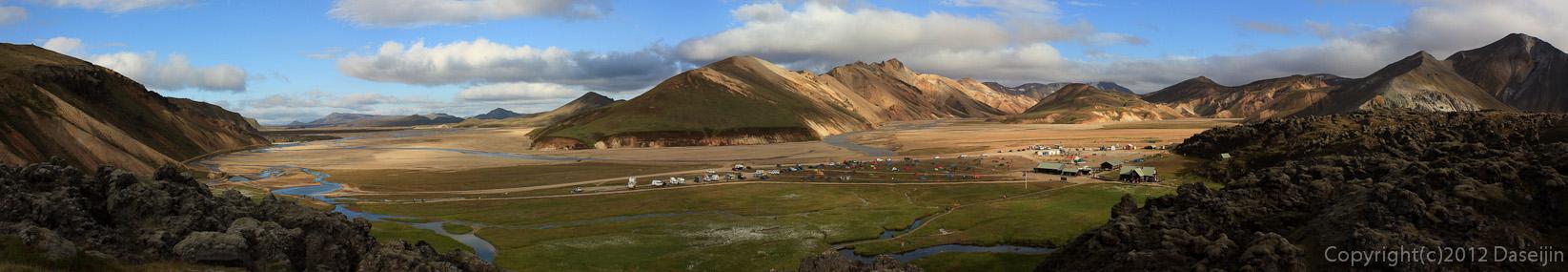 120808アイスランド、グリーンランドの旅・ランドマンナロイガルのパノラマ