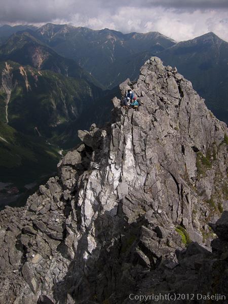 120921北穂前尾根・2峰の懸垂