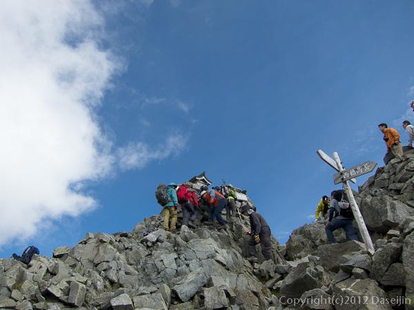 120921北穂前尾根・奥穂高岳山頂