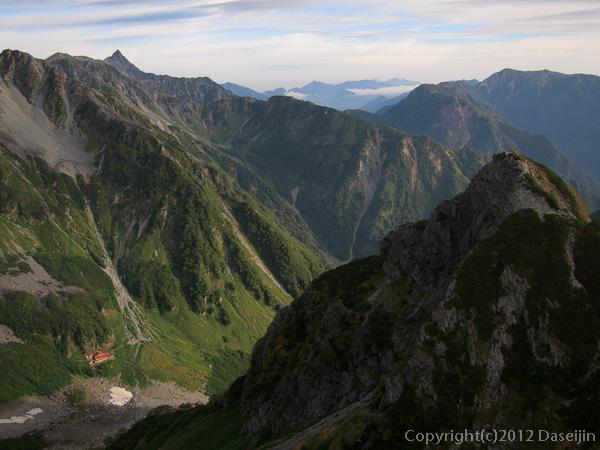 120921北穂前尾根・五峰頂上から槍ヶ岳