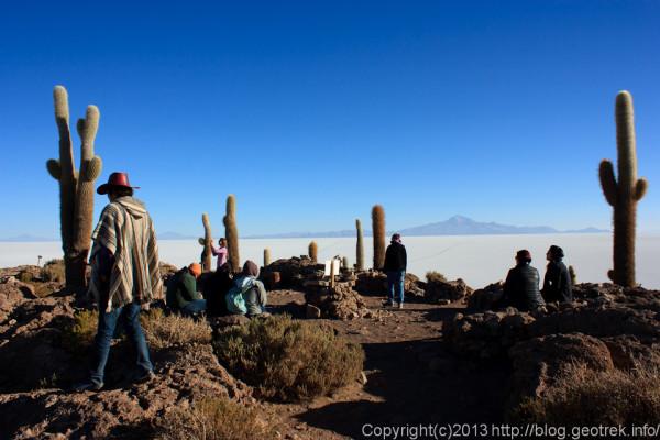 130905ボリビア、ウユニ塩湖、インカワシ島頂上