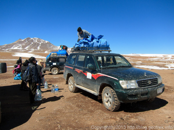 130903アタカマ砂漠、ボリビアのイミグレで車を替える