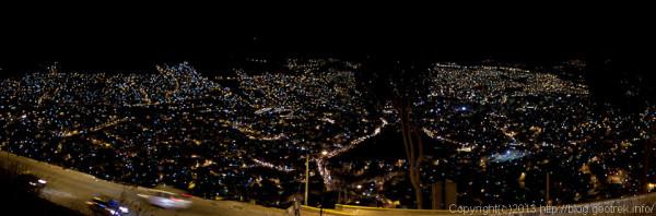 130907ボリビア、エル・ミラドールからのラパスの夜景