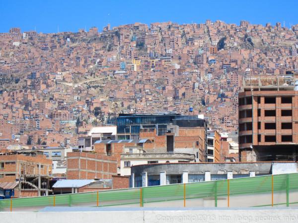 130908ボリビア、ラパス、斜面の街