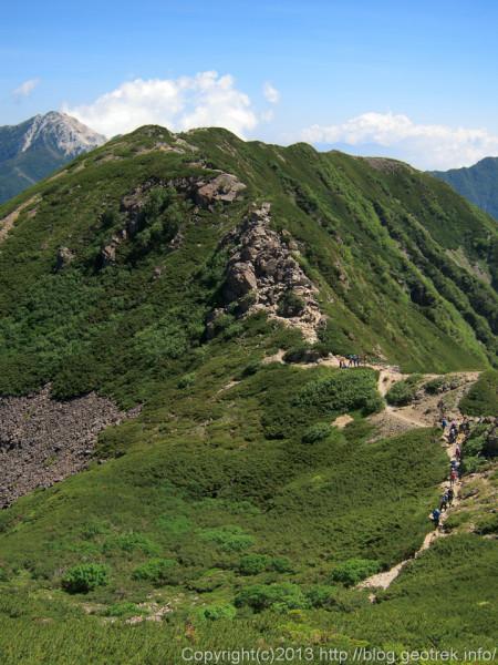 20130811仙丈岳から小仙丈岳の銃走路