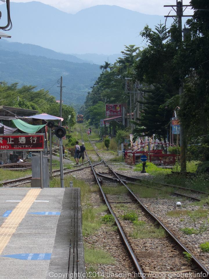 140913台湾、集集駅に列車がやってきた