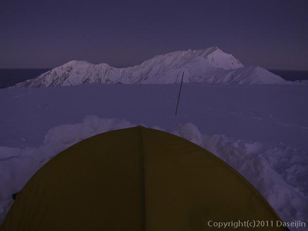 111126立山スキー・夜明け前の大日岳