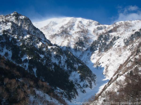 雪煙なびく蓮華岳の尾根